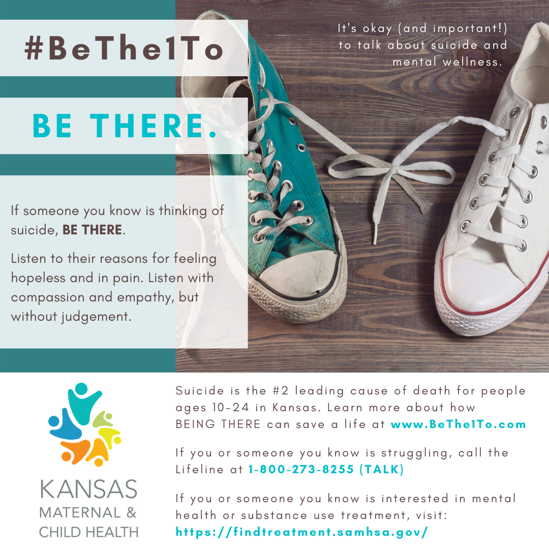 Be there graphic - teal and white